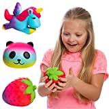 GirlZone Gifts Girls: Set of 3 Slow Rising Squishies Unique Colors Stress Reducing Scented Unicorn Strawberry & Panda Squishy