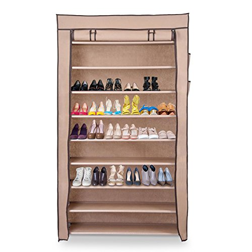 Koval Inc. 10 Tiers Shoe Rack Organizer Closet with Dustproof Cover, Holds 45 Pairs of Shoes (10 Tiers Mocha) by KOVAL INC.