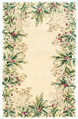 KAS Oriental Rugs Emerald Collection Tropical Border Area Rug, 2' x 3', Ivory