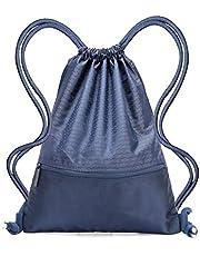 Drawstring Bag - Swimming Bag Gymsack PE Backpack Chich Bag - Hovinso Lightweight Sport Gym Rucksack Shoulder Bag Tote Travel School Gymnastic Swim Fitness with Zip Pocket