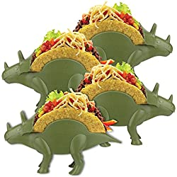 (Set/4) Tricerataco Double-slotted Dinosaur Taco Holders For Fun Meal-time