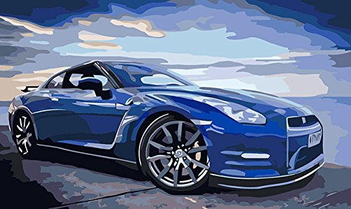 Paint By Number Walls (Diy Oil Painting, Paint By Number Kits, Canvas Wall Art-Blue Car 16x20 inch (Framed))