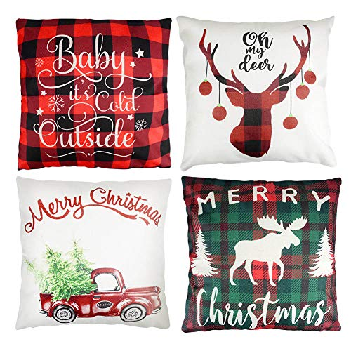 ZRLINE 4PCS Christamas Decorative Throw Pillow Covers, Plaid Farmhouse Deer Winter Holiday Decor Pillow Cases Protector Soft Cotton Linen Cushion for Sofa Bedroom Couch Car, 18x18in (White-Red)