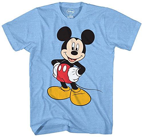 Light Blue Adult Shirt - Mickey Mouse Disney Funny Graphic Tee Classic Vintage Disneyland World Mens Adult T-Shirt Apparel (Large, Heather Light Blue)