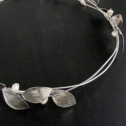 Greek stefana, pair of handmade 925 sterling silver greek wedding crowns with lemon leaves, wedding headbands, wedding hair accessories handmade by Emmanuela by Emmanuela - Art in silver