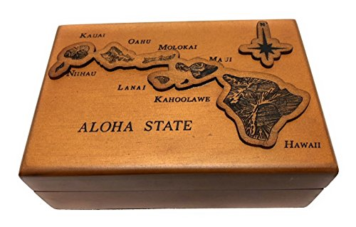 Tikimaster Wooden Jewelry Keepsake Box w/Aloha State Design | #R5271