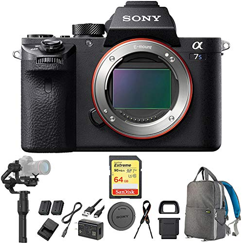 Sony a7S II Full-Frame Mirrorless Interchangeable Lens Camera Body (ILCE-7SM2/B) with DJI Ronin-S Gimbal Stabilizer for Mirrorless Cameras, 64GB Memory Card & DSLR Camera Backpack