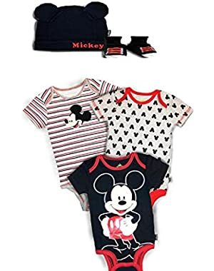 Disney Mickey Mouse 3 Pack Onesies, Hat & Bootie Gift Set