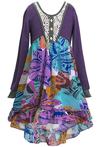SaraSara Big Girls Long Sleeve Hi Low Dress (with Many Options), 7-16 (8, Purple Multi)