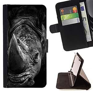 - rhino black white Africa animal nature - - Prima caja de la PU billetera de cuero con ranuras para tarjetas, efectivo desmontable correa para l Funny HouseFOR Sony Xperia M2
