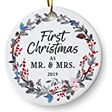 "First Christmas as Mr and Mrs 2019 Wedding Christmas Ornament, Couples Wedding Present, Floral Wreath 3"" Flat Ceramic Ornament with Gift Box"