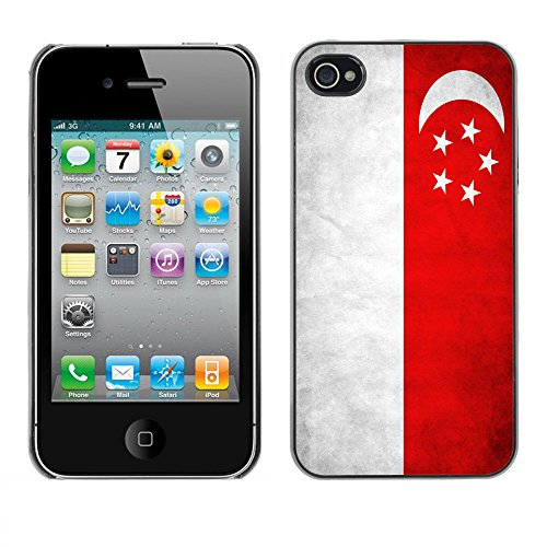 Omega Case PC Polycarbonate Cas Coque Drapeau - Apple iPhone 4 / 4S ( Singapore Grunge Flag )