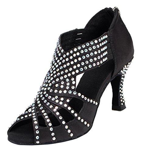 Tda Donna Slip-on Tacco Medio Cristalli Raso Latino Moderno Salsa Tango Da Ballo Scarpe Da Ballo Di Nozze 7,5 Centimetri Zip Nero