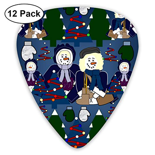 (Snow Lady Victorian Snowman Bendy Ultra Thin 0.46 Med 0.73 Thick 0.96mm 4 Pieces Each Base Prime Plastic Jazz Mandolin Bass Ukelele Guitar Pick Plectrum Display)