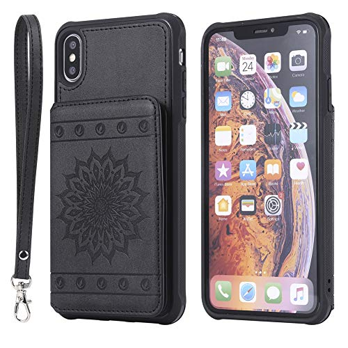 iPhone XR Wallet Case Flip Back Cover with Card Holder Embossed Sunflower iPhone XR 6.1