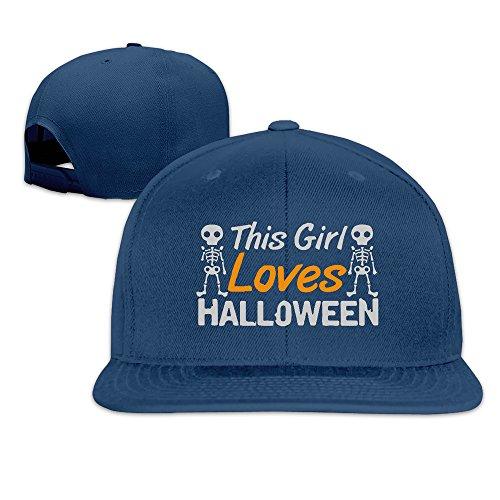 [Runy Custom This Girl Loves Halloween Adjustable Baseball Hat & Cap Navy] (Pepsi Costume Halloween)