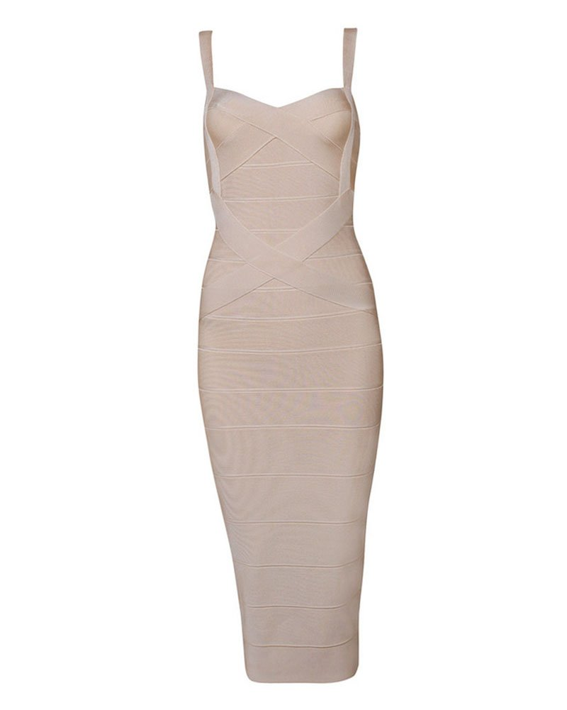 Whoinshop Women's Rayon Strap Celebrity Midi Evening Party Bandage Dress (XL, Khaki)