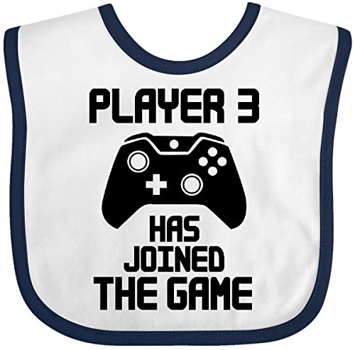 Inktastic - Player 3 Has Joined The Game Baby Bib White/Navy (Game Bibs White)