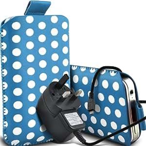 Nokia Lumia 510 Protección Premium Polka PU ficha de extracción Slip In Pouch Pocket Cordón piel cubierta de la caja y Micro Quick Release CE USB Aprobado 3 Pin Cargador de bebé azul y blanco por Spyrox