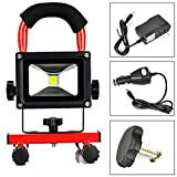 EverBright 20W 3200LM Red Body Portable Ultra Bright Cordless Rechargeable Led Flood Spot Work Light Lamp Water Resistant Waterproof Work Light, Flood light, LED Work Lamp With AC Charge & Car Charge