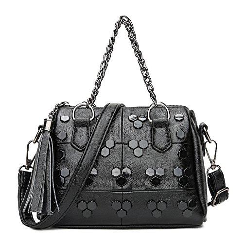 GWQGZ New Women'S Handbag Riveting Boston Bag For Leisure Retro Single Shoulder And Single (Suede Boston Bag)