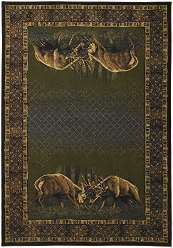 United Weavers of America Buck Wear Collection Winner Takes All Rug, 5-Feet 3-Inch by 7-Feet 6-Inch, Hunter