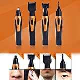 electric 2 eye burner - Funwill 4 in 1 Rechargeable Nose Hair Beard Sideburn Eyebrow Removal Trimmer Temples Repair Eyebrows Razor Stainless Steel System Comfortable Device Smooth Shape Head Brush Charging Men Women Beauty