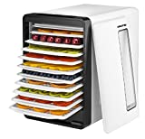 Gourmia GFD1850 Food Dehydrator With Touch Digital Temperature Control, Ten Drying Trays Plus Beef Jerky & Sausage Hanging Rack, Sleek Design, Transparent Window & Free Recipe Book - White