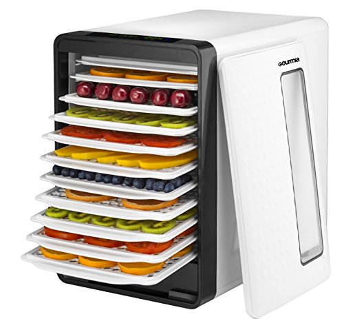 Gourmia GFD1850 Food Dehydrator With Touch Digital Temperature Control, Ten Drying Trays Plus Beef Jerky & Sausage Hanging Rack