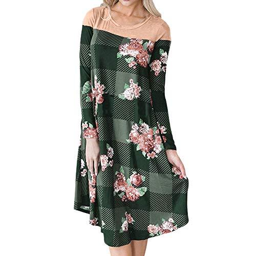 (Landfox Maxi Dress, O-Neck Printed Dress,Dress for Women Plaid Patchwork Casual Dress)