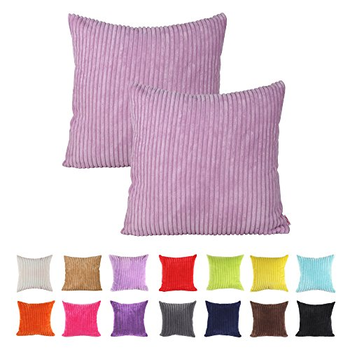Queenie - 2 Pcs Solid Color Corduroy Decorative Pillowcase Cushion Cover for Sofa Throw Pillow Case Available in 14 Color 5 Sizes (15.75 x 15.75 Inch ( 40 x 40 Centimeter), Lavender) - Lavender Decorative Pillow