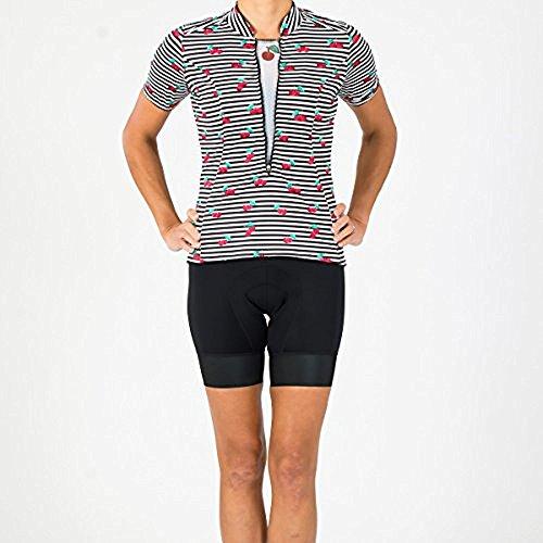 - Shebeest 2018 Women's S-Cut Cherry Pie Short Sleeve Cycling Jersey - 3225 (Cherry Pie-Black - SM)