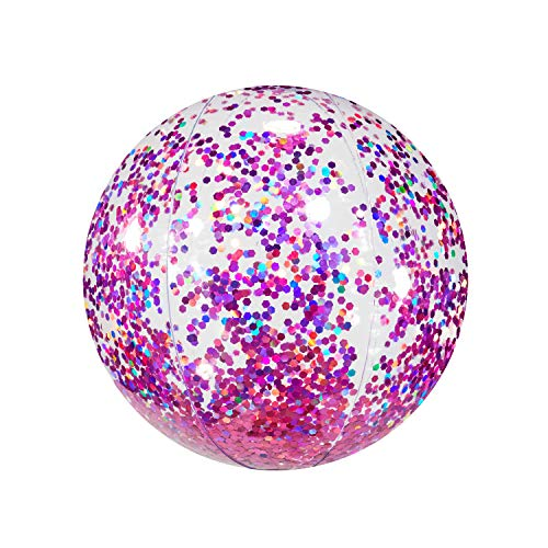 B & D GROUP Poolcandy Soft Pink Glitter Inflatable Beach Ball -