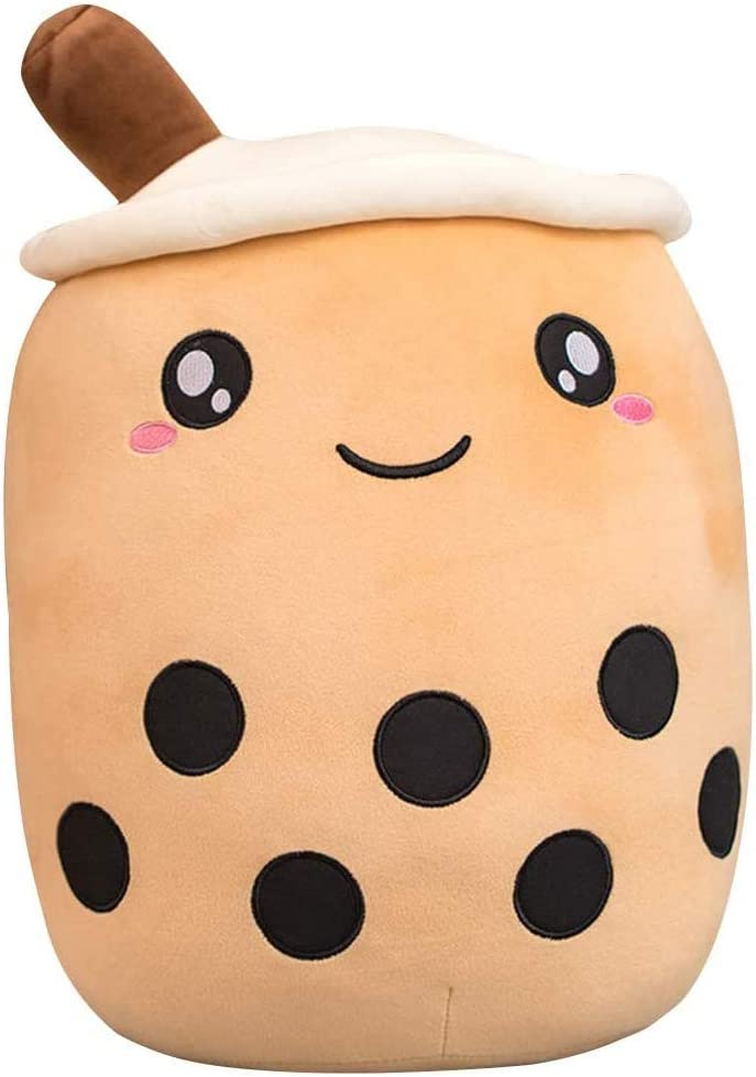 Alayger Cute Bubble Tea Plush Pillow Stuffed Cartoon Cylindrical Body Pillow Cup Shaped Pillow Super Soft Hugging Cushion Realistic Lifelike Back Plush Food (13.7 inch,Brown)