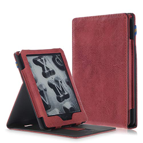 MonsDirect Folio Case for All-New Kindle (10th Generation, 2019) / Kindle (8th Generation, 2016), PU Leather Case Protective Cover Vertical Stand Auto Wake/Sleep,NOT fit for Kindle Paperwhite,Maroon (Kindle Maroon Paperwhite Case)