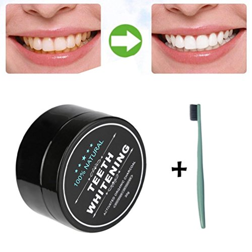 Sinwo Teeth Whitening Powder Natural Organic Activated Charcoal Bamboo Toothpaste Freshens Breath (30g(With toothbrush))