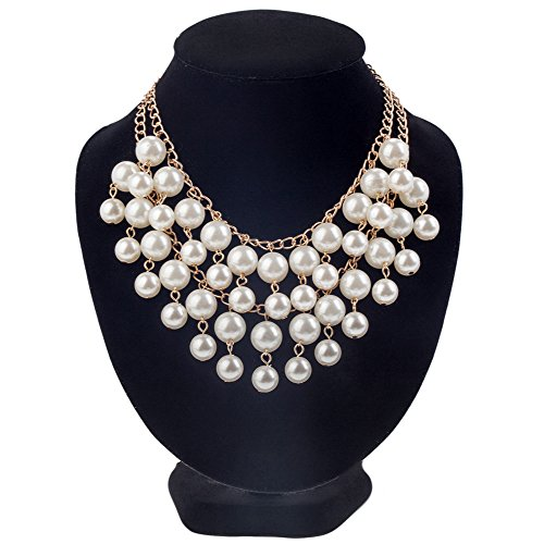 Luxurious Multi Layered Statement Necklace / Collier / Choker With White Faux Pearls On Golden Colored Chains By VAGA
