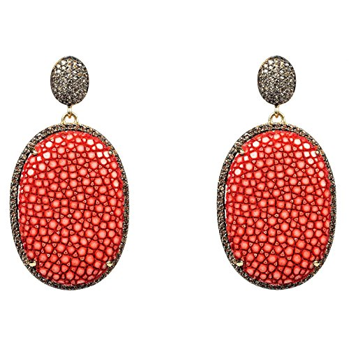 Stingray Pave Oval Earring Chilli Red