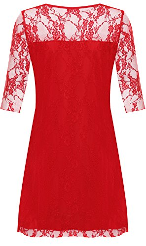 Plus Sleeve Length Stretch Lined Knee Womens WearAll Lace Size Red 4 3 Dress wqYX6zX