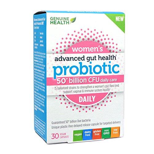 Advanced Health Systems - Genuine Health Advanced Gut Health Daily Probiotics for Women, 50 Billion CFU, 15 Diverse Strains, Non GMO, Dairy Free, Gluten Free, Soy Free, Vegan Delayed-release Capsules, 30 Count