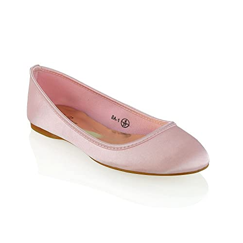 ESSEX GLAM Womens Pastel Pink Satin Bridal Slip On Wedding Pumps 5 B(M)