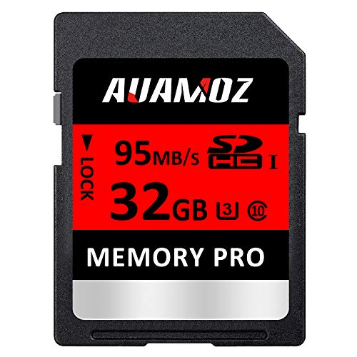 32GB SD Card, AUAMOZ Memory Pro Class 10 SD Memory Card UHS-I High Speed Memory Card for Cameras and Camcorders, U3 up to 95 MB/s, 10 Class SDHC Card (Red/Black)
