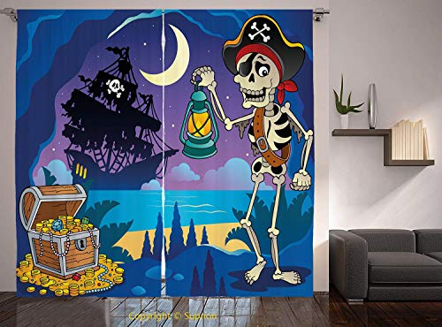 Living Room Bedroom Window Drapes/Rod Pocket Curtain Panel Satin Curtains/2 Curtain Panels/108 x 84 Inch/Pirate,Found Treasure Chest in Cave Mystery Hideout Pirate with Lantern Sailing Ship Moon Decor