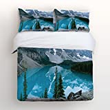 Libaoge 4 Piece Bed Sheets Set, 3D Mountain Lake View Nature Picture Art Paintings Effect Print, 1 Flat Sheet 1 Duvet Cover and 2 Pillow Cases