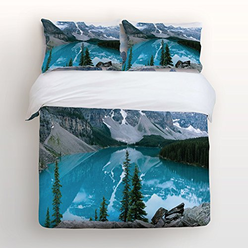 (Nature Landscape View 4 Piece Bedding Sets Queen Size,Moraine Lake Rocky Mountains Nature Landscape View Printed Duvet Cover Set Decorative Bedspread for Kids/Childrens/Teens/Adults,)