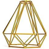 Cage en Métal Forme de Diamant Abat-Jour de Lampe de Plafond Vintage Pendentif Loft Décor - Or