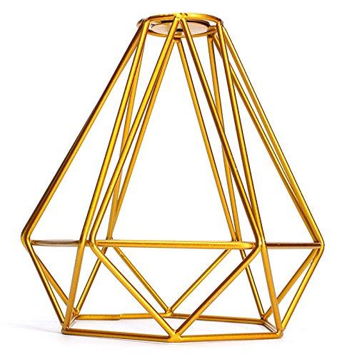 MagiDeal Vintage Metal Diamond Loft Pendant Ceiling Light Lamp Bulb Cage Decor - Golden (Diamond Cage Light)
