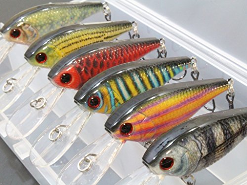 6 Hard Baits Fishing Lures in One Tackle Box Deep Water Crankbait RealSkin Painting For Bass Fishing HC549KB