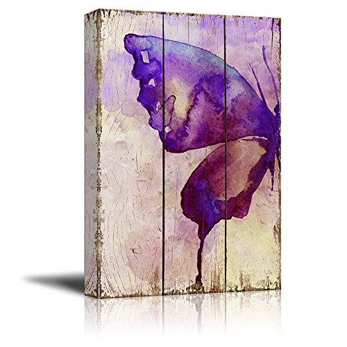 Purple Watercolor Butterfly Wings Over Wood Panels Nature
