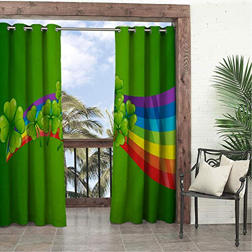 Linhomedecor Garden Waterproof Curtains Happy St. Patricks Day Clover Ra Bow Porch Grommets Parties Curtains 96 by 84 inch
